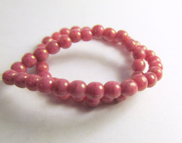 Coral Pink Peach 3mm Czech Round Druks with light 22k Gold Picasso (50) - Odyssey Cache