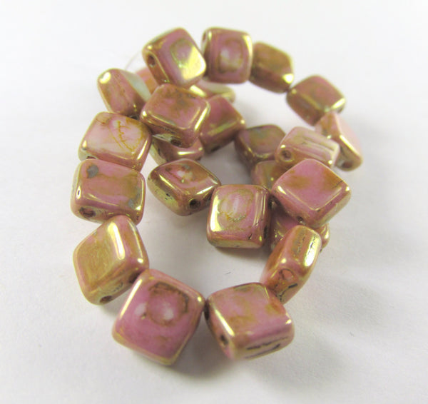 Mauve Pink 22k Gold Picasso Czechmate 6mm 2 Hole Square Tilas (25)-Jewelry Beads-Odyssey Cache