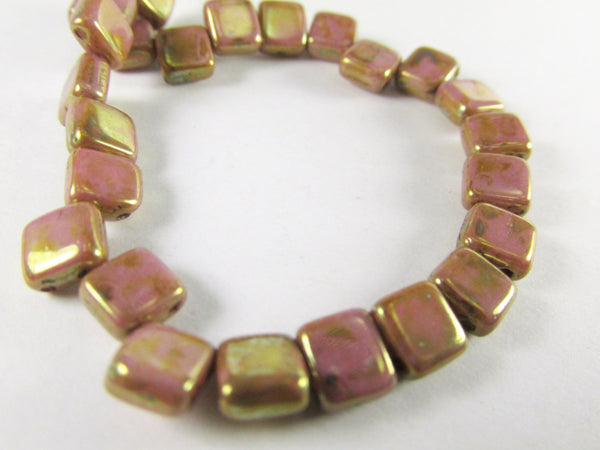 Mauve Pink 22k Gold Picasso Czechmate 6mm 2 Hole Square Tilas (25) - Odyssey Cache