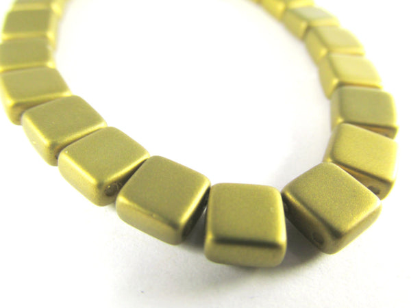 Antique Gold Czech 2 Hole Czechmate 6mm Square Tilas (25)-Jewelry Beads-Odyssey Cache