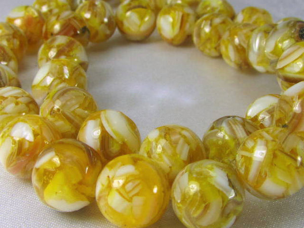 SALE - Gold and White Mother of Pearl and Resin 10mm round beads (15) - Odyssey Cache - 3