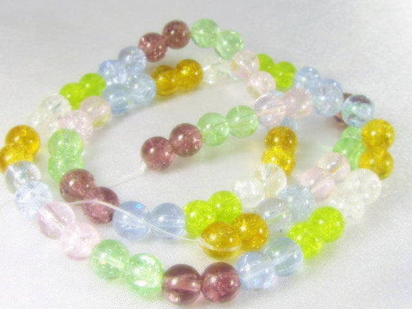 Multicolor Pink, Blue, Gold, Green, Clear and Plum 5mm Crackle Glass Round Beads - Odyssey Cache