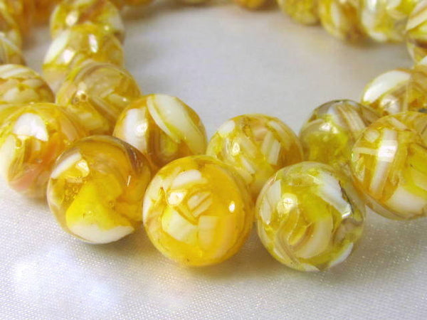 SALE - Gold and White Mother of Pearl and Resin 10mm round beads (15) - Odyssey Cache - 2