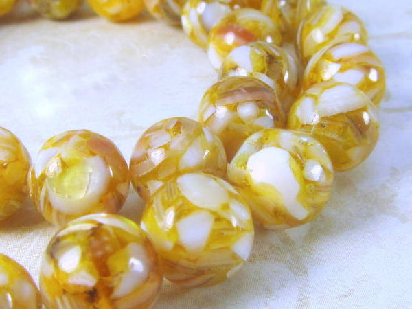 SALE - Gold and White Mother of Pearl and Resin 10mm round beads (15) - Odyssey Cache - 4
