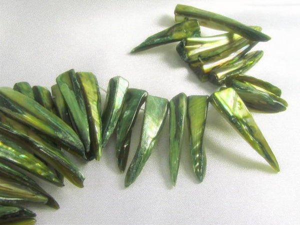 Mother of Pearl Green or Denim Blue 30mm Spike Beads-Jewelry Beads-Olive Green-Odyssey Cache