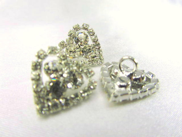Heart Shaped 16mm Rhinestone Button-Buttons-Odyssey Cache