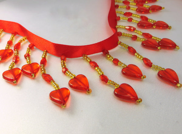 Red and Gold Heart Alternating Medium Beaded Fringe - Odyssey Cache