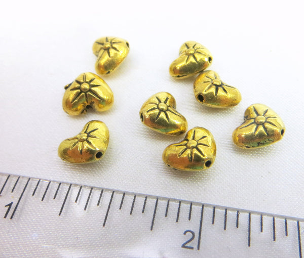 Antique Gold Pewter 8mm Heart Beads (8)-Jewelry Beads-Odyssey Cache
