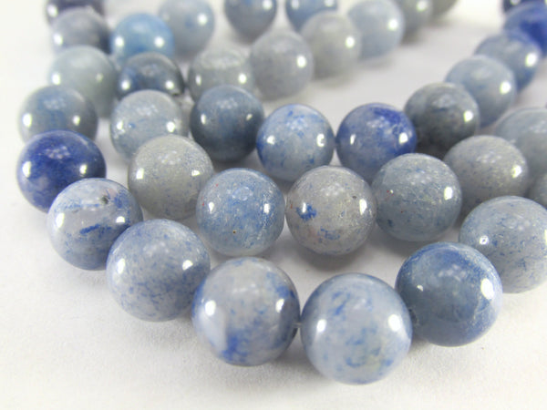Blue Gray Denim Agate 8mm Round Semiprecious Stone Beads (18)-Jewelry Beads-Odyssey Cache