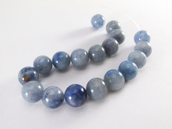 Blue Gray Denim Agate 8mm Round Semiprecious Stone Beads (18) - Odyssey Cache