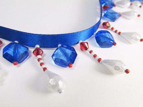 Red White and Blue Faceted Pearl Short Beaded Fringe Trim-Beaded Fringe-Yard-Odyssey Cache
