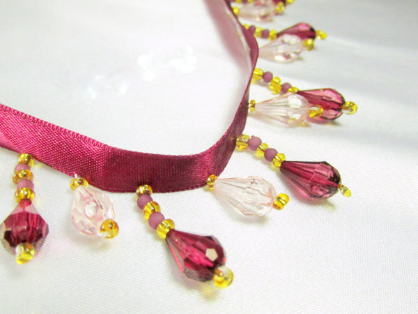 Burgundy and Pale Pink Short Beaded Fringe Trim-Beaded Fringe-1 yard-Odyssey Cache