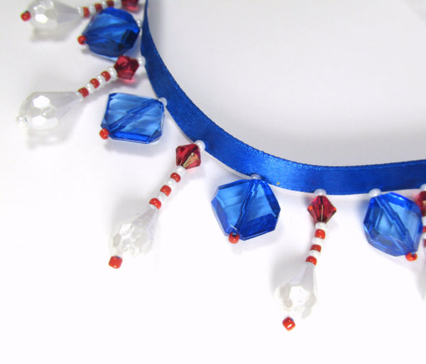Red White and Blue Faceted Pearl Short Beaded Fringe Trim-Beaded Fringe-1/2 Yard-Odyssey Cache