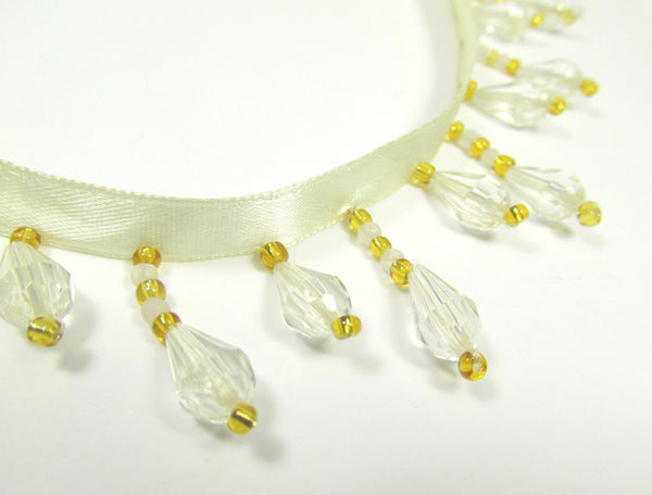 Ivory and Gold Faceted Acrylic Alternating 1.25 Inch Short Beaded Fringe Trim - Odyssey Cache