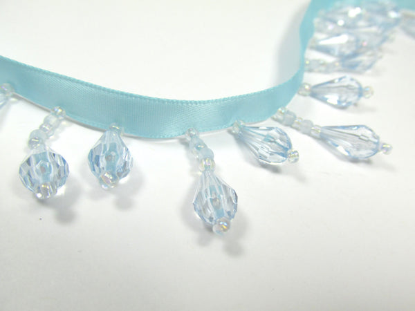 Light Baby Blue on Blue Aqua Ribbon Short Beaded Fringe Trim-Beaded Fringe-Yard-Odyssey Cache