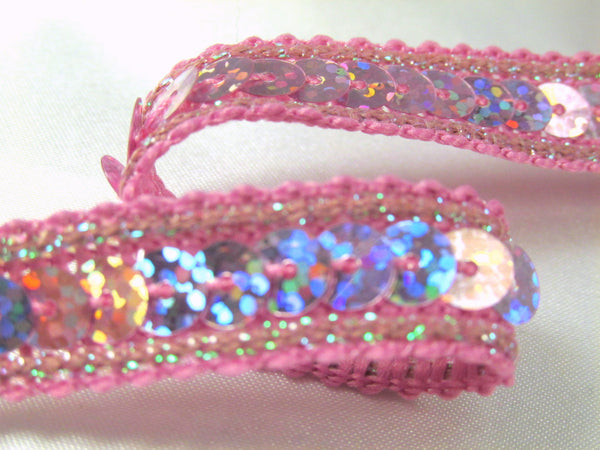Holographic 1/2 Inch Sequined Trim with AB Thread Edge in 12 colors-Trims-Odyssey Cache