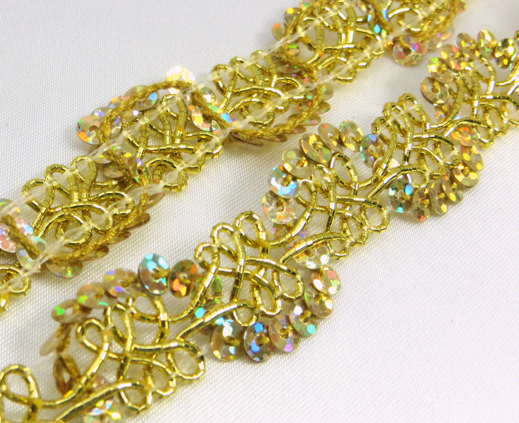 Gold or Silver AB 1/2 inch (12mm) Wavy Scalloped Sequined Trim-Trims-Gold-Odyssey Cache