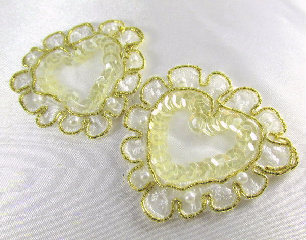 Ivory and Gold Sequin & Pearl Heart Appliques (2)-Appliques-Default Title-Odyssey Cache