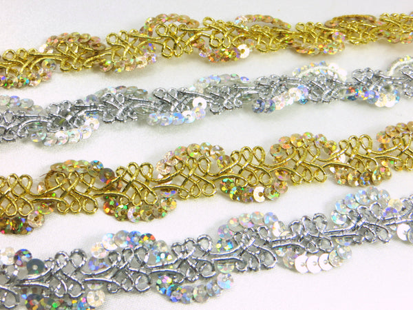 Gold or Silver AB 1/2 inch (12mm) Wavy Scalloped Sequined Trim - Odyssey Cache