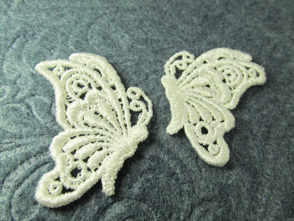 Ivory Venice Lace Butterfly Appliques (2)-Appliques-Odyssey Cache