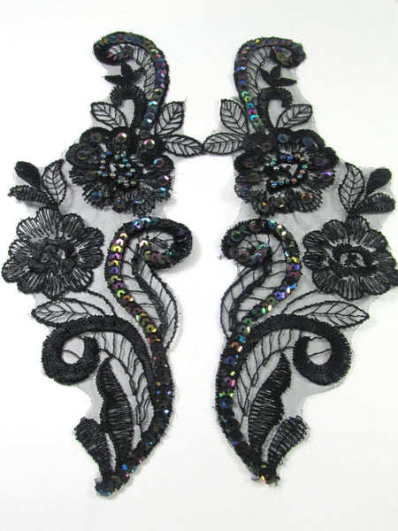 Black Iris Large 8.5 x 3.25 Inch Flower Appliques (2) - Odyssey Cache