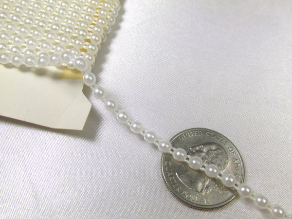 Single Strand 4mm White Pearl Flatback Bridal Trim - Odyssey Cache