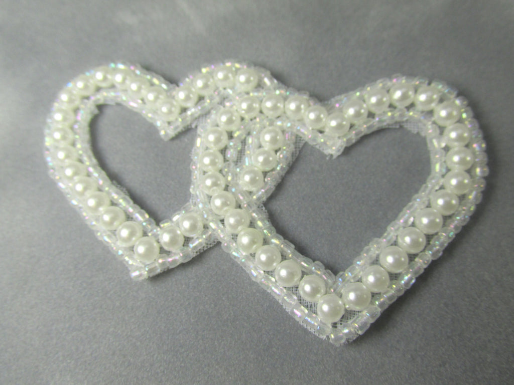 White Pearl Bridal 3 inch Entwined Double Heart Applique-Appliques-Odyssey Cache