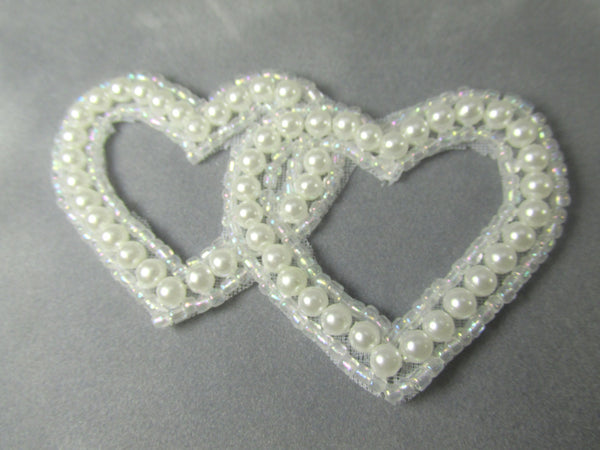 White Pearl Bridal 3 inch Entwined Double Heart Applique - Odyssey Cache