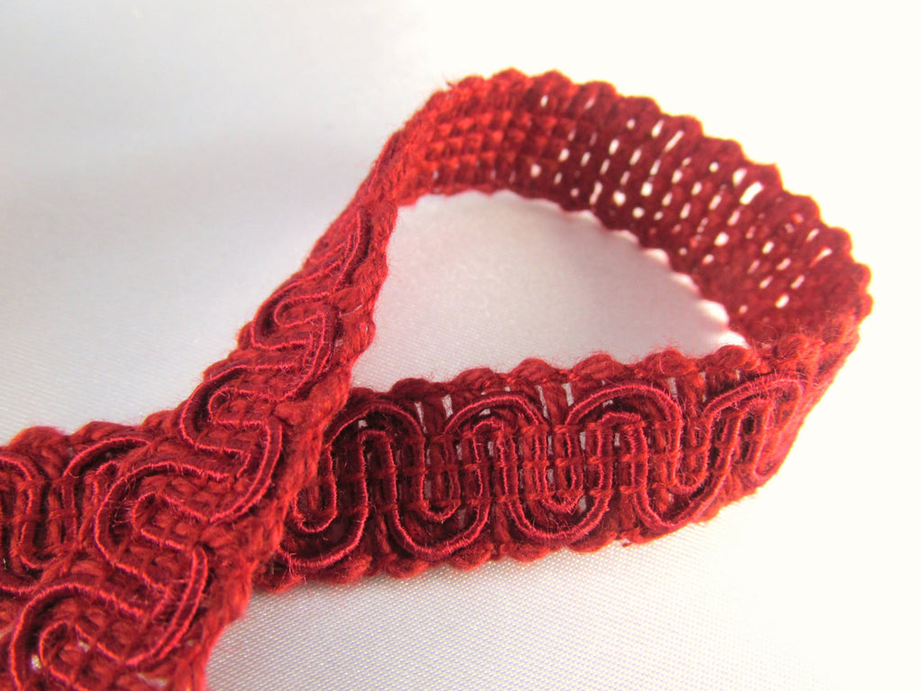Marsala Dark Red 1/2 inch Swirly Flat Quality Gimp Trim-Trims-Odyssey Cache
