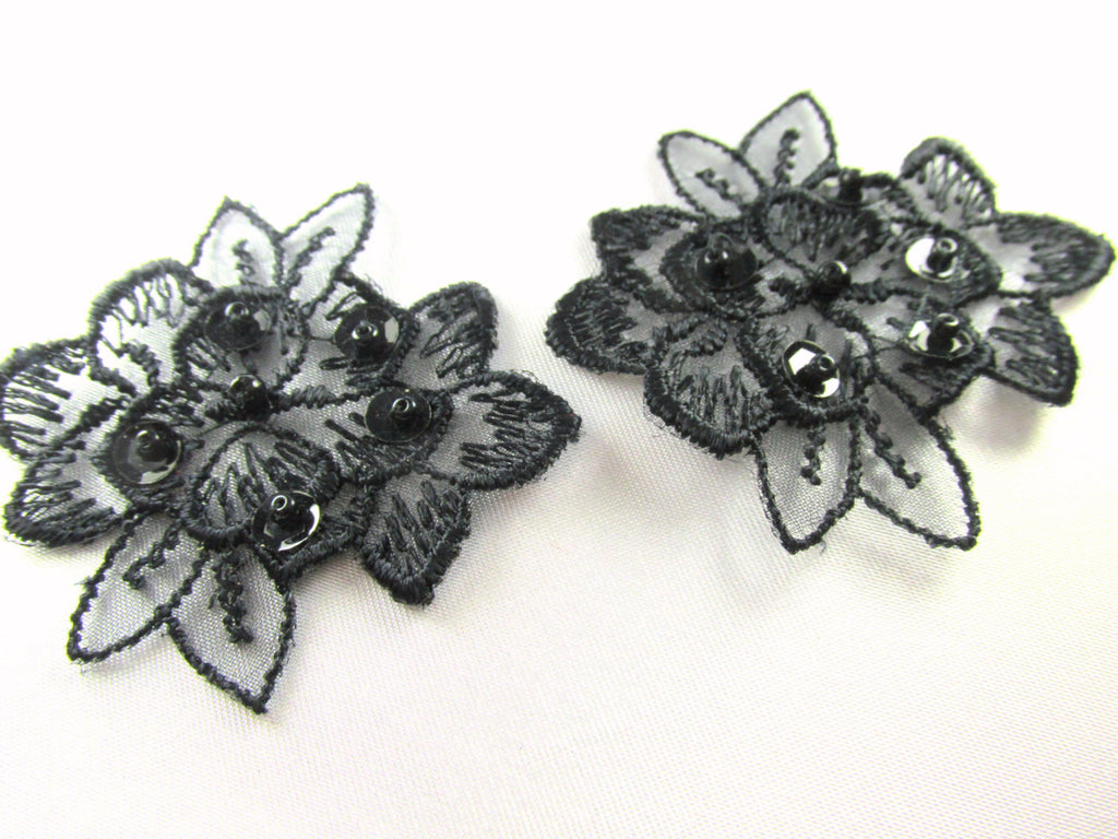 Black or Black AB Lace Beaded and Sequined Flower Appliques (2)-Appliques-Black-Odyssey Cache