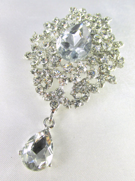 Crystal Clear Teardrop Vintage Style 3 Inch Brooch in Silver-Brooch-Odyssey Cache