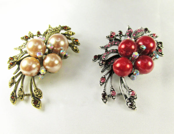 Ivory Large Pearl Cluster Vintage Style Antique Silver Brooch-Brooch-Odyssey Cache