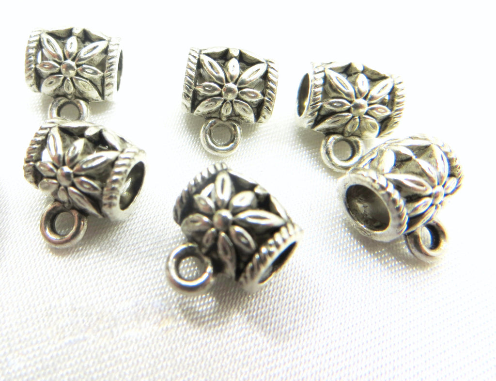 Silver 4mm Large Hole Charm Holder Pewter Metal Beads-Metal Beads and Findings-Odyssey Cache
