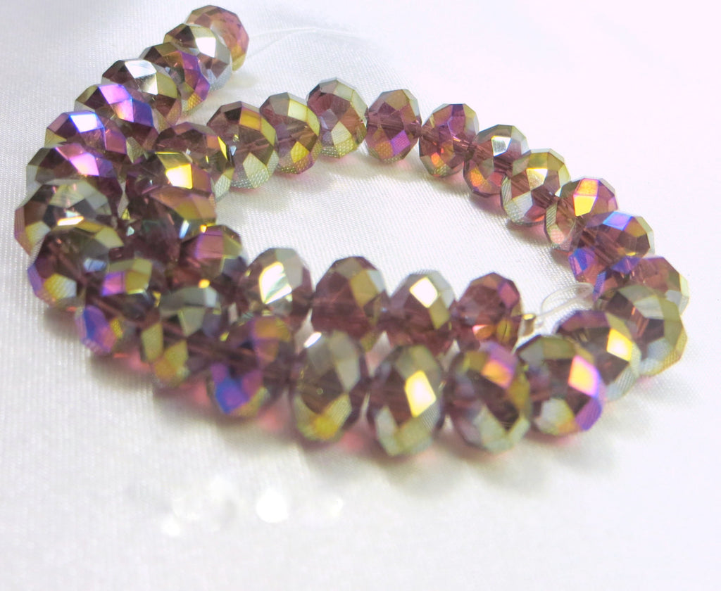 Dark Violet AB Chinese Crystal 8mm x 6mm Rondelles (35) - Odyssey Cache
