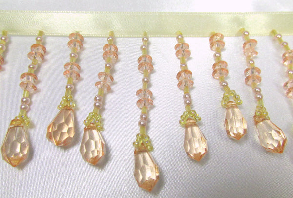 Golden Peach Blush 3 inch Medium Beaded Fringe-Beaded Fringe-Yard-Odyssey Cache