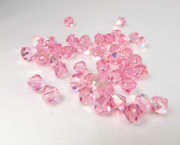 Light Rose AB Swarovski 5328 Crystal 5mm Bicones (25)-Jewelry Beads-Odyssey Cache