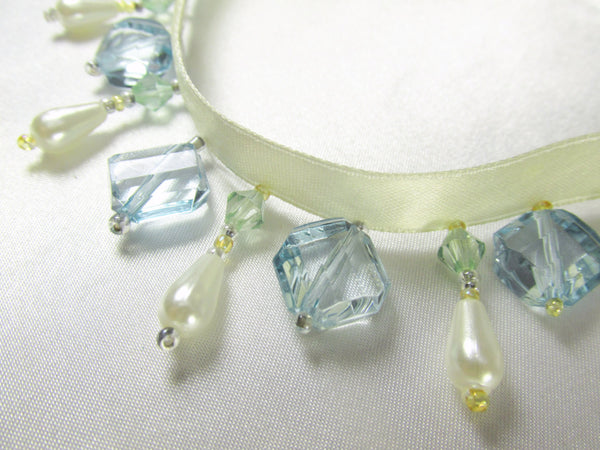 Aqua, Mint Green and Ivory Pearl Short Beaded Fringe-Beaded Fringe-1 yard-Odyssey Cache