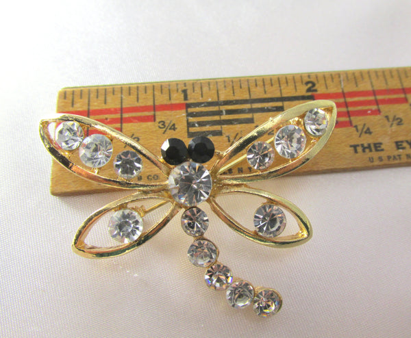 Dragonfly 2 Inch Brooch in Gold, Crystal and Black-Brooch-Odyssey Cache