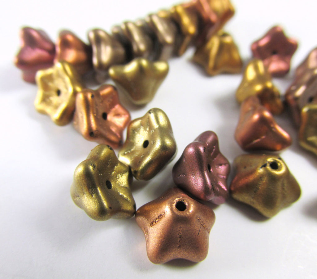Metallic Bead Mix Czech Glass 9mm x 6mm Bell Flower Beads (25)-Jewelry Beads-Odyssey Cache