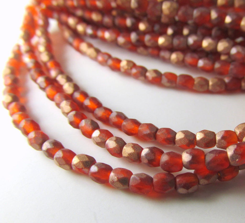Opal Orange Copper Matte Czech 3mm Fire Polished Beads (50) - Odyssey Cache