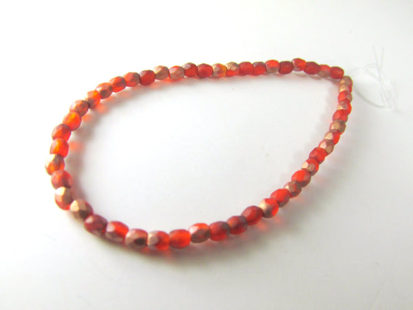 Opal Orange Copper Matte Czech 3mm Fire Polished Beads (50)-Jewelry Beads-Odyssey Cache