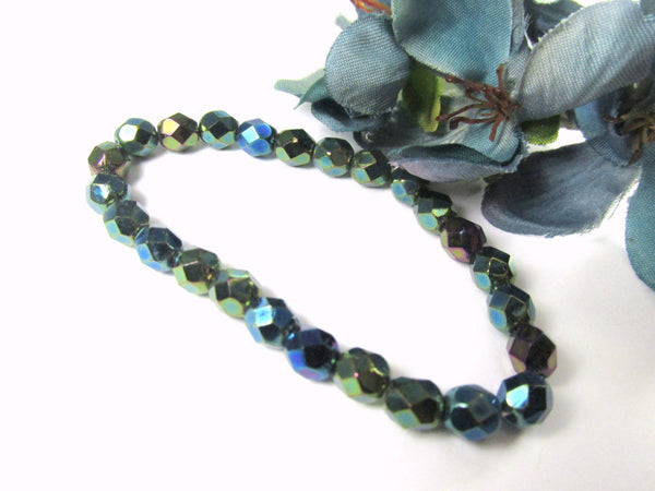 Peacock Green Iris Czech Faceted 6mm Fire Polished Beads (25) - Odyssey Cache
