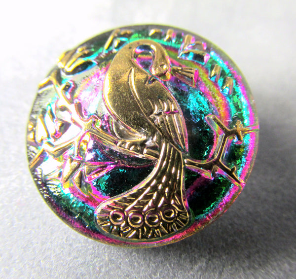 Peacock Vitrail Green AB Czech Glass 22mm Button - Odyssey Cache