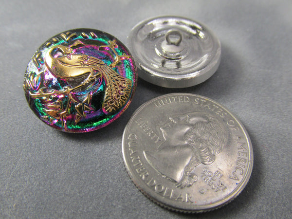 Peacock Vitrail Green AB Czech Glass 22mm Button-Buttons-Odyssey Cache