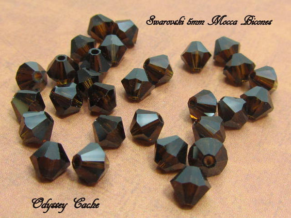 Mocca Dark Brown Swarovski 5301 5mm Bicones (25) - Odyssey Cache