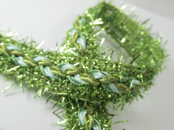 Fuzzy 3/4 inch Braided Tinsel Metallic Trim in 4 colors-Trims-Green-Odyssey Cache