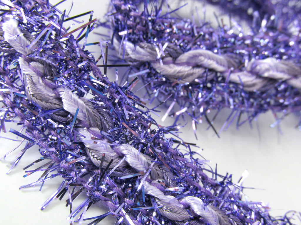 Fuzzy 3/4 inch Braided Tinsel Metallic Trim in 4 colors-Trims-Purple-Odyssey Cache