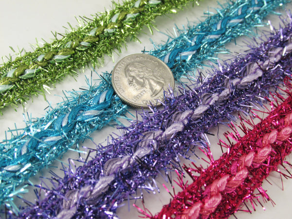 Fuzzy 3/4 inch Braided Tinsel Metallic Trim in 4 colors-Trims-Odyssey Cache