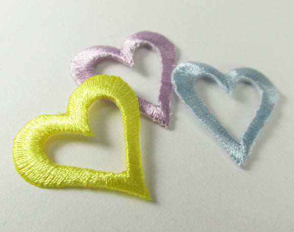 Iron On 1 Inch Open Heart Appliques in 6 colors - Odyssey Cache