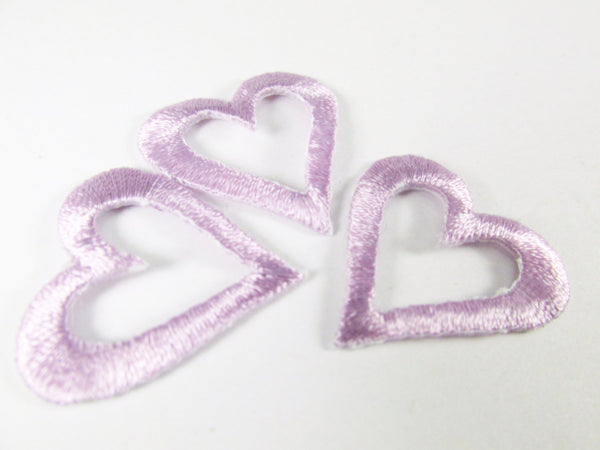 Iron On 1 Inch Open Heart Appliques in 6 colors-Appliques-Lavender-Odyssey Cache